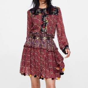 Zara Patchwork Floral Print Dress Size Small